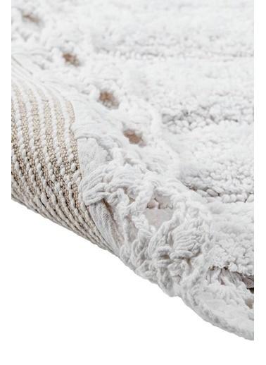 Giz Home Lace Oval El Yapımı Pamuklu Banyo Paspası Beyaz Beyaz